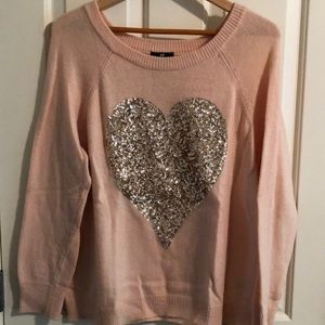 H&M pink and gold sequin heart sweater